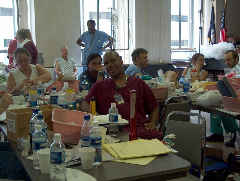 The Waiting Room Hospital staff waited in the auditorium on the second floor at Charity for five days before rescue came. They moved all E.R. patients and staff to the second floor of the hospital to avoid the rising floodwaters. -- Photo by Mooney Bryant-Penland