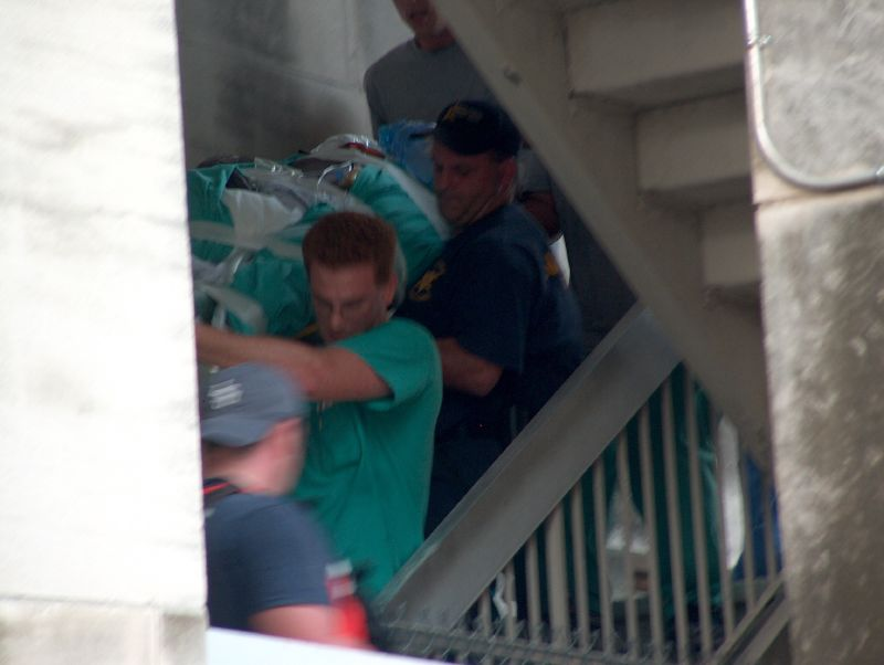 Carrying Patients Patients were carried down this outside stairwell from as high as the 12th floor, which housed the surgical ICU. Patients were transported across the street to Tulane Hospital where staff were being evacuated by helicopter. According to Bryant-Penland, a Charity patient died while waiting to be evacuated on this route. -- Photo by Mooney Bryant-Penland