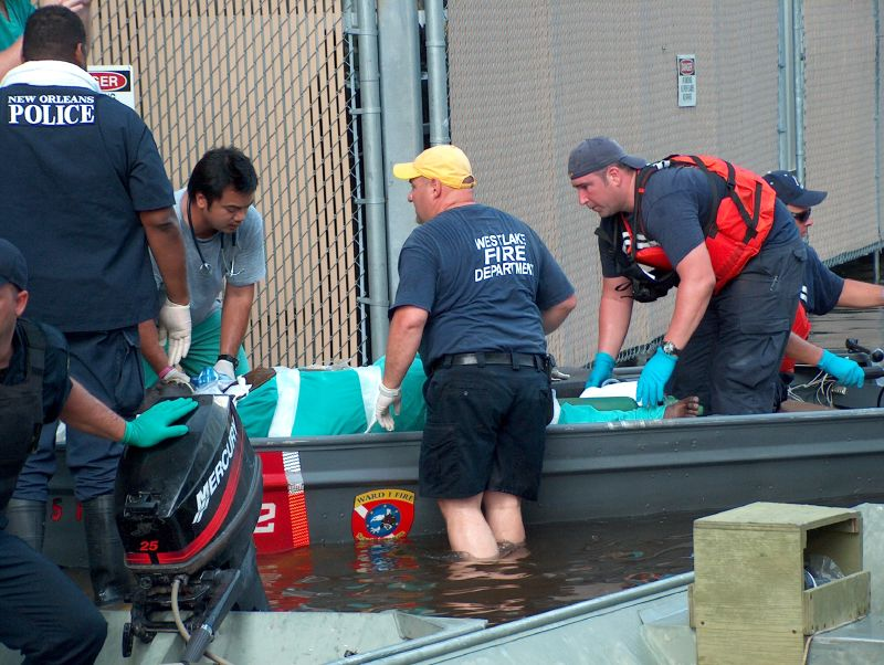 By Water This patient was taken by boat to Tulane Hospital for evacuation by helicopter. -- Photo by Mooney Bryant-Penland