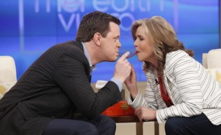 Today co-host Willie Geist and Meredith Vieira take the #TwizzlerChallenge on her show on March 12, 2015. Photo via @MeredithShow.