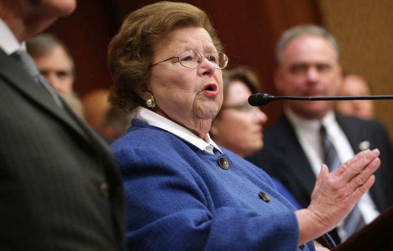 Democratic Sen. Barbara Mikulski of Maryland provided the last vote Wednesday that protected President Barack Obama's Iran nuclear deal from a Republican-led veto. Photo by Chip Somodevilla/Getty Images