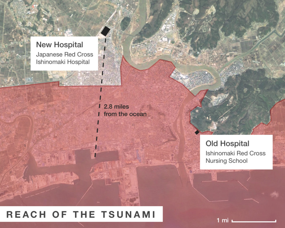 Ishinomaki Red Cross Hospital was out of reach of the 2011 tsunami and withstood the 9.0 earthquake while Ishinomaki City's old hospital flooded to the first floor. Graphic by Oregon Public Broadcasting