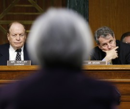 """Federal Reserve Chair Janet Yellen delivers her """"Semiannual Monetary Policy Report to Congress"""" before the Senate Banking, Housing, and Urban Affairs Committee, including chair Richard Shelby, R-Ala., and ranking member Sherrod Brown, D-Ohio, on Feb. 24, 2015.  Photo by REUTERS/Kevin Lamarque."""