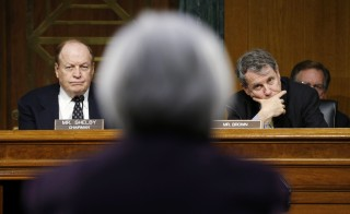 "Federal Reserve Chair Janet Yellen delivers her ""Semiannual Monetary Policy Report to Congress"" before the Senate Banking, Housing, and Urban Affairs Committee, including chair Richard Shelby, R-Ala., and ranking member Sherrod Brown, D-Ohio, on Feb. 24, 2015.  Photo by REUTERS/Kevin Lamarque."