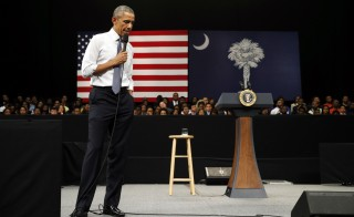 President Barack Obama pauses during a town hall meeting at Benedict College in Columbia, South Carolina March 6, 2015. Obama discussed findings from a Department of Justice report on bias against blacks in Ferguson, Missouri at the Photo by Kevin Lamarque/Reuters