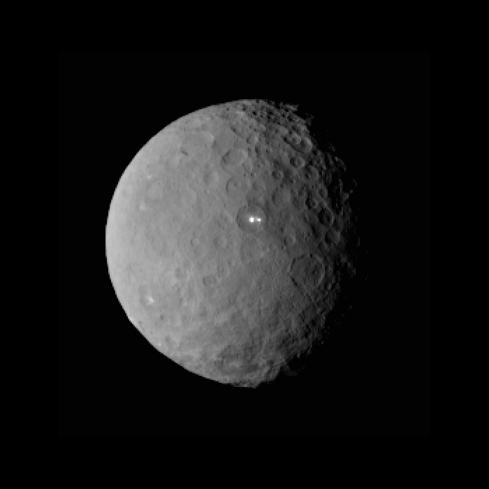 This image was taken by NASA's Dawn spacecraft of dwarf planet Ceres on Feb. 19 from a distance of nearly 29,000 miles. It shows that the brightest spot on Ceres has a dimmer companion, which apparently lies in the same basin. Image courtesy of NASA/JPL-Caltech/UCLA/MPS/DLR/IDA