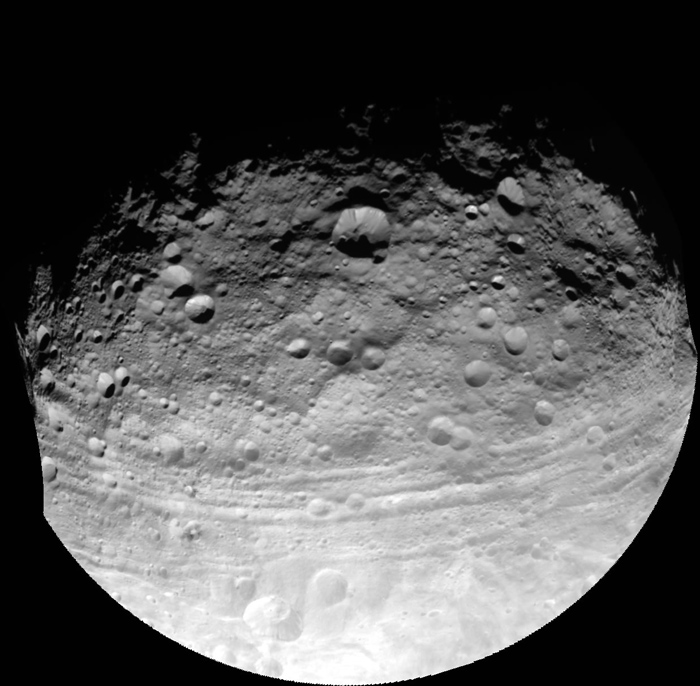 This full view of the giant asteroid Vesta was taken by NASA's Dawn spacecraft, as part of a rotation characterization sequence on July 24, 2011, at a distance of 3,200 miles. Image courtesy of NASA/JPL-Caltech/UCLA/MPS/DLR/IDA
