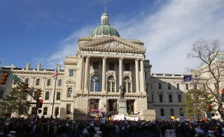 Union members protesting  on the steps of the State Capitol in Indianapolis, February 1, 2012. Indiana's new religious objections law has caused controversy, with some saying it enables discrimination against gay people. Photo by Jeff Haynes/Reuters