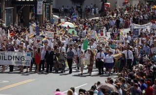 Practicing Mormons march during a gay pride parade in Salt Lake City, Utah, June 3, 2012. Photo by Jim Urquhart/Reuters