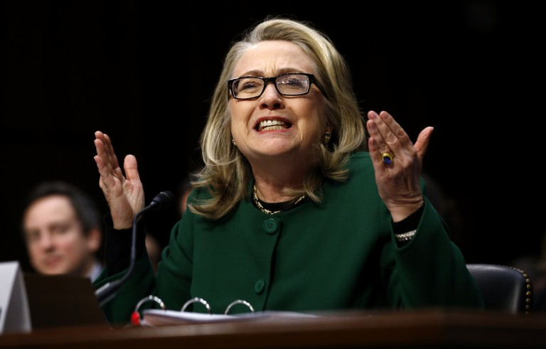 U.S. Secretary of State Hillary Clinton responds forcefully to intense questioning on the September 2012 attacks on U.S. diplomatic sites in Benghazi, Libya, during a Senate Foreign Relations Committee hearing on Capitol Hill Jan. 23, 2013. Jason Reed/Reuters