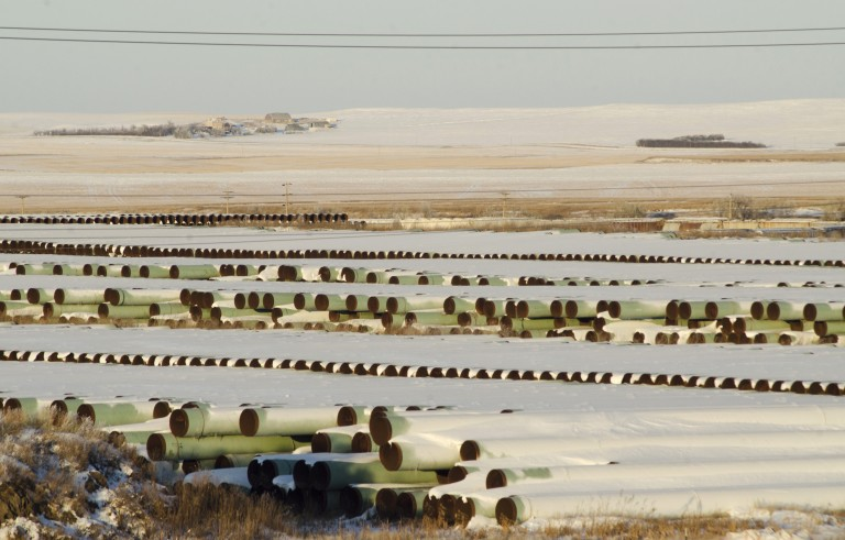 A depot used to store pipes for Transcanada Corp's planned Keystone XL oil pipeline is seen in Gascoyne, North Dakota on Nov. 14, 2014. Photo by Andrew Cullen/Reuters