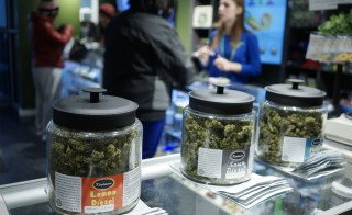 "Customers shop for ""Green Friday"" deals at the Grass Station marijuana shop on Black Friday in Denver, Colorado November 28, 2014. Colorado's revenue division released a report on the state's first year of legal recreational marijuana sales Friday."