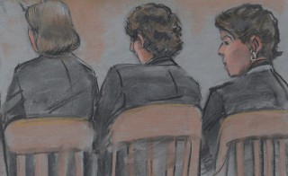 A courtroom sketch shows accused Boston Marathon bomber Dzhokhar Tsarnaev sitting with his attorneys on the first day of his trail at the federal courthouse in Boston