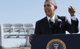 Obama delivers remarks at the Edmund Pettus Bridge in Selma, Alabama