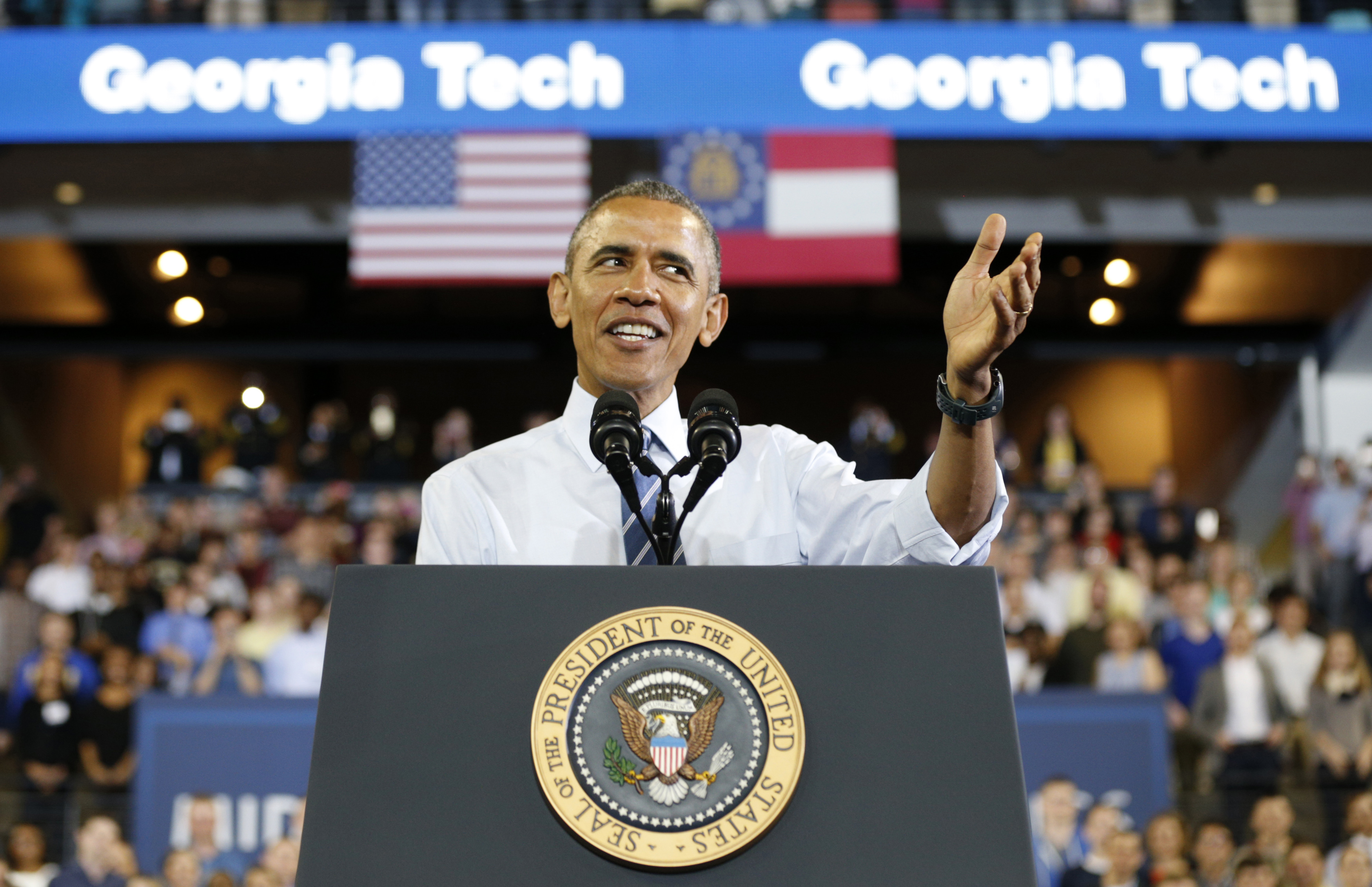 President Obama speaks to students during a visit to Georgia Tech on Tuesday. The president unveiled efforts to change student loan procedures. Photo by Kevin Lamarque/Reuters