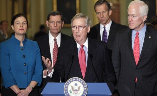 Ayotte, Barrasso, McConnell, Thune and Cornyn hold a news conference after the weekly party caucus policy luncheons at the U.S. Capitol in Washington