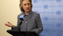 Former U.S. Secretary of State Hillary Clinton speaks during a press conference at the United Nations in New York