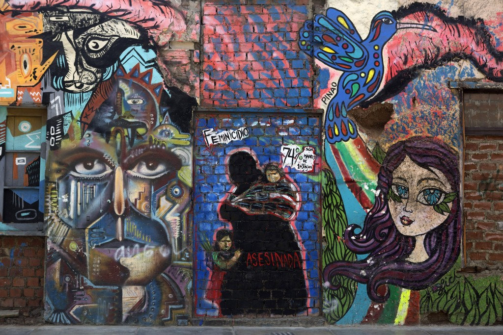 A wall of graffiti is seen at Caylloma street in Lima on Mar. 12, 2015. Credit: Mariana Bazo/  REUTERS