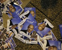 Fliers depicting Israel's Prime Minister Netanyahu are seen on the ground during a right-wing rally in Tel Aviv
