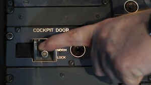 A picture inside a flight simulator shows the door locking system of an Airbus A320 in Vienna