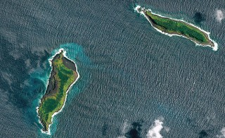 This is a pre-eruption satellite image of two islands that help make up Tonga. Photo courtesy of Pleiades.