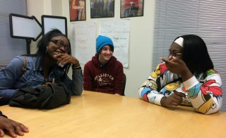 Metropolitan ninth-graders Latrese Martin, Ross Jacobson and Tia Stevens say their trauma-informed class gives them a place to be heard. (Photo: Meredith Kolodner/Hechinger Report)