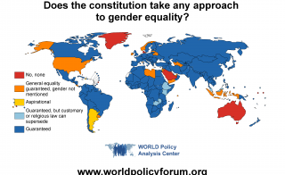 Map of countries that guarantee gender equality in their constitutions. Image courtesy of WORLD Policy Analysis Center.