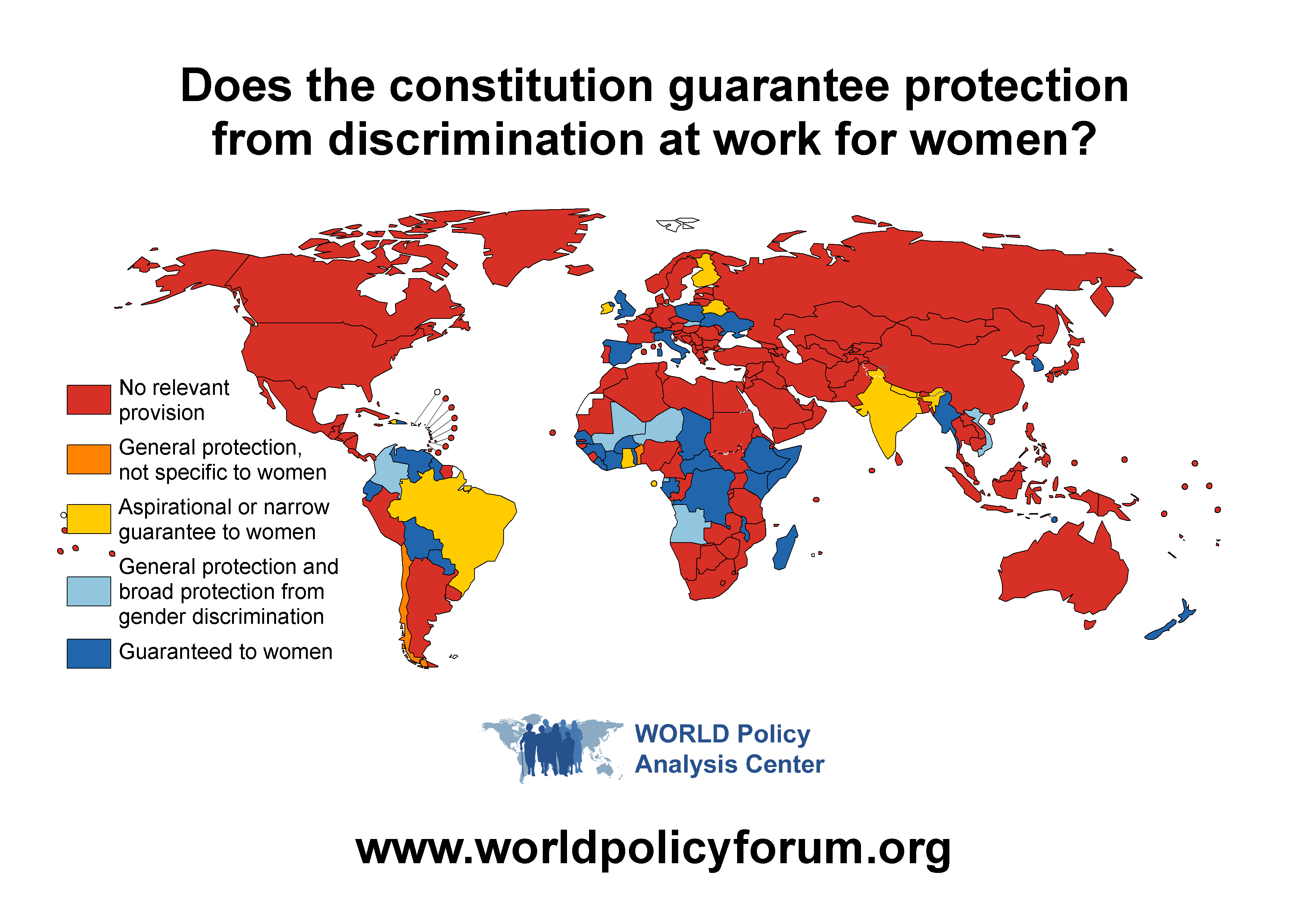 Map of countries whose constitutions guarantee protection from discrimination at work for women. Image courtesy of WORLD Policy Analysis Center.