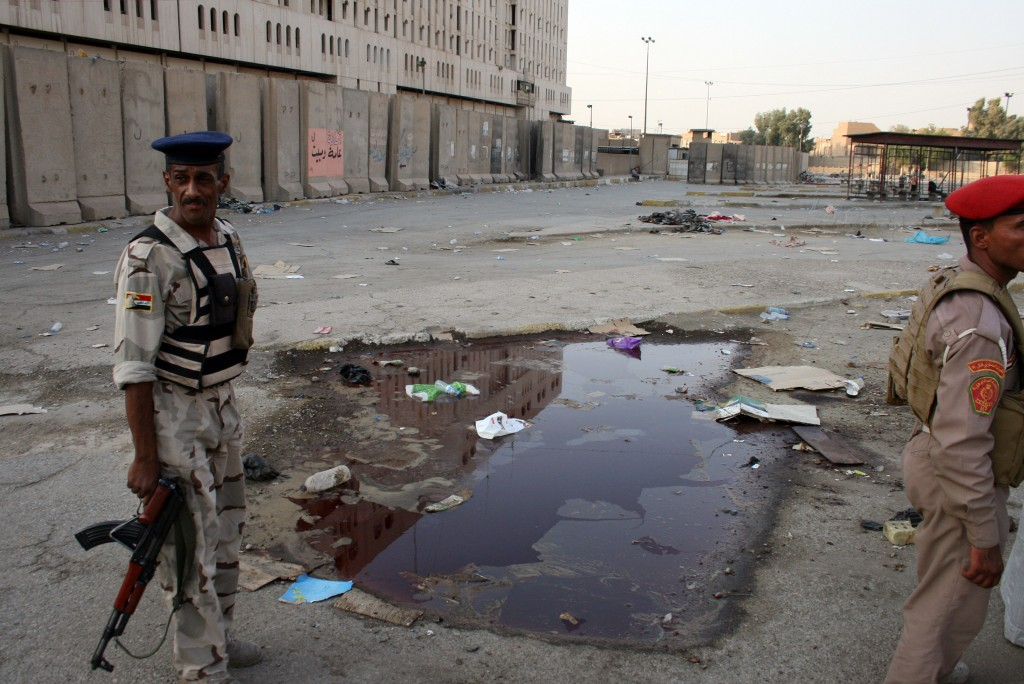 Iraqi Soldiers The suicide bombing took place at the Iraqi army headquarters in Baghdad.