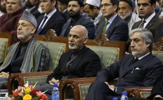 Ghani attends a commemoration of the first death anniversary of Fahim in Kabul