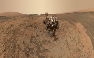 "A self-portrait of NASA's Curiosity Mars rover that shows the vehicle at the ""Mojave"" site, where its drill collected samples of Mount Sharp. Photo courtesy of NASA/JPL-Caltech/MSSS"
