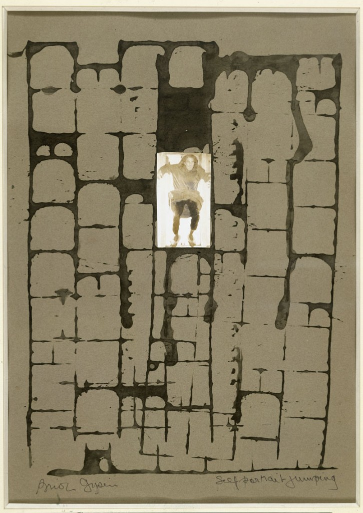 Brion Gysin, Self-Portrait Jumping, 1974. Gouache and photo-collage on colored paper, 14 5/8 x 10 3/8 (37 x 26.5 cm). Musée d'Art Moderne de la Ville de Paris