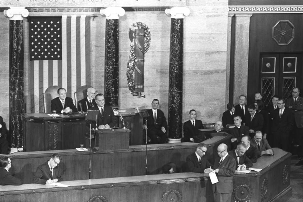 President Lyndon B. Johnson addresses Congress on the Voting Rights Act on March 15, 1965. LBJ Library photo by Cecil Stoughton