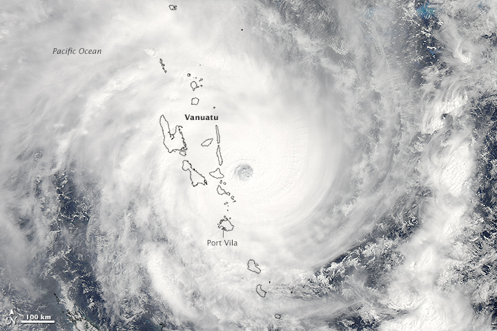 NASA's Aqua satellite acquired this image of Cyclone Pam on March 13, 2015. Not long after the image was acquired, the storm struck the island of Efate, which is home to Vanuatu's capital city, Port Vila. Image courtesy of NASA