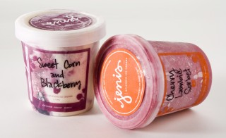 Jeni's sweet corn with blackberry ice cream. Photo by Bonnie Trafelet/Chicago Tribune/MCT via Getty Images