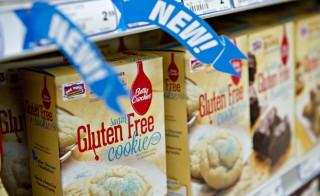 'Gluten Free' appears on the packaging for General Mills Inc. Betty Crocker brand cookie mix displayed for sale at a supermarket in Princeton, Illinois. Photo by Daniel Acker/Bloomberg via Getty Images