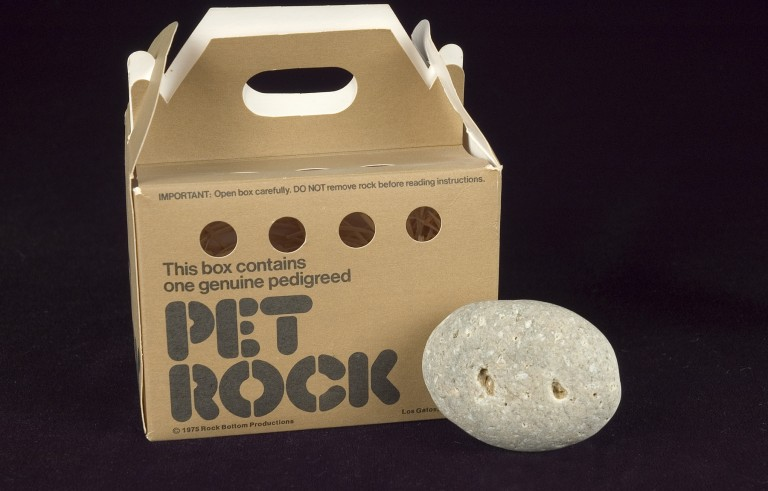 1975 version of the Pet Rock. Photo courtesy of the  Strong National Museum of Play