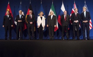 """Iran and world powers arrive for nuclear talks at the Swiss Federal Institute of Technology in Lausanne (Ecol Polytechnique Federale De Lausanne) in Lausanne April 2, 2015. U.S. Secretary of State John Kerry has asked opponents of the Iran nuclear deal to """"hold their fire"""" until they see a final agreement later this year.  Photo by Brendan Smialowski/Pool/Reuters."""