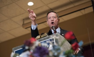 Martin O'Malley, former governor of Maryland and potential Democratic presidential candidate, speaks during the Scott County Democratic Party dinner in Davenport, Iowa, U.S., on Friday, March 20, 2015. Potential Hilary Clinton democratic rivals have target Iowa, expected to be an important state in the 2016 presidential election. Photo by: Daniel Acker/Bloomberg via Getty Images.