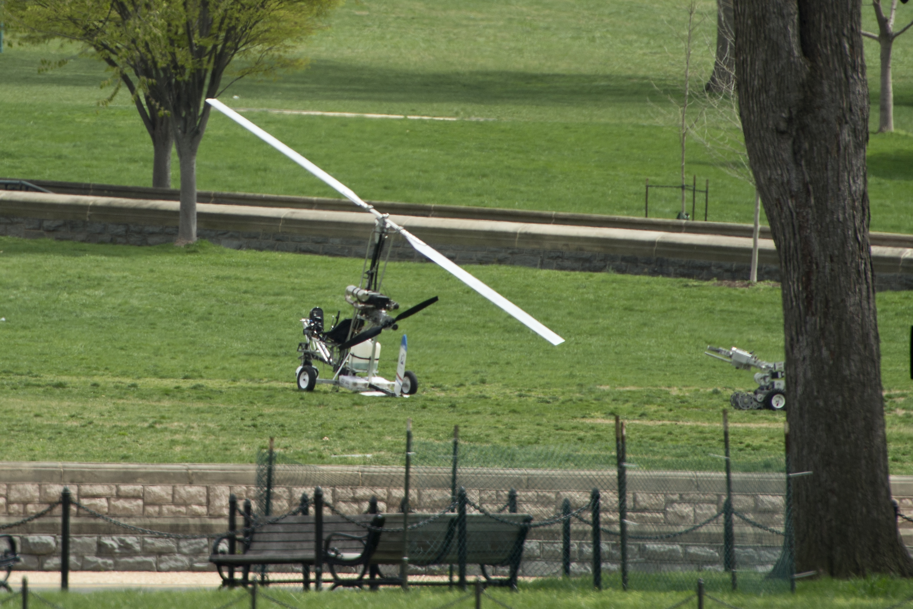 A man was arrested after landing a gyrocopter on the West Lawn of the U.S. Capitol on Wednesday, April 15, 2015. The small helicopter was painted with a U.S. Postal Service logo. Photo By Bill Clark/CQ Roll Call