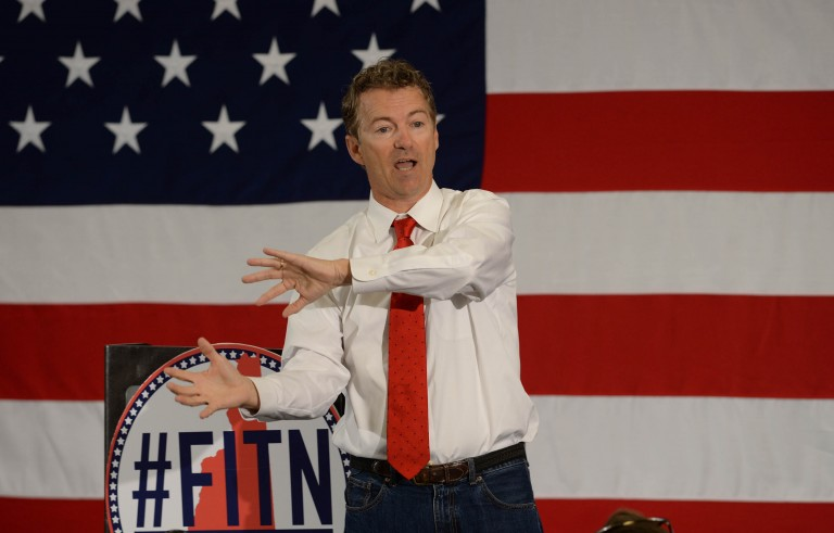 U.S. Sen. Rand Paul (R-KY) speaks at the First in the Nation Republican Leadership Summit April 18, 2015 in Nashua, New Hampshire. The Summit  brought together local and national Republicans and was attended by all the Republicans candidates as well as those eyeing a run for the nomination. Photo by Darren McCollester/Getty Images.