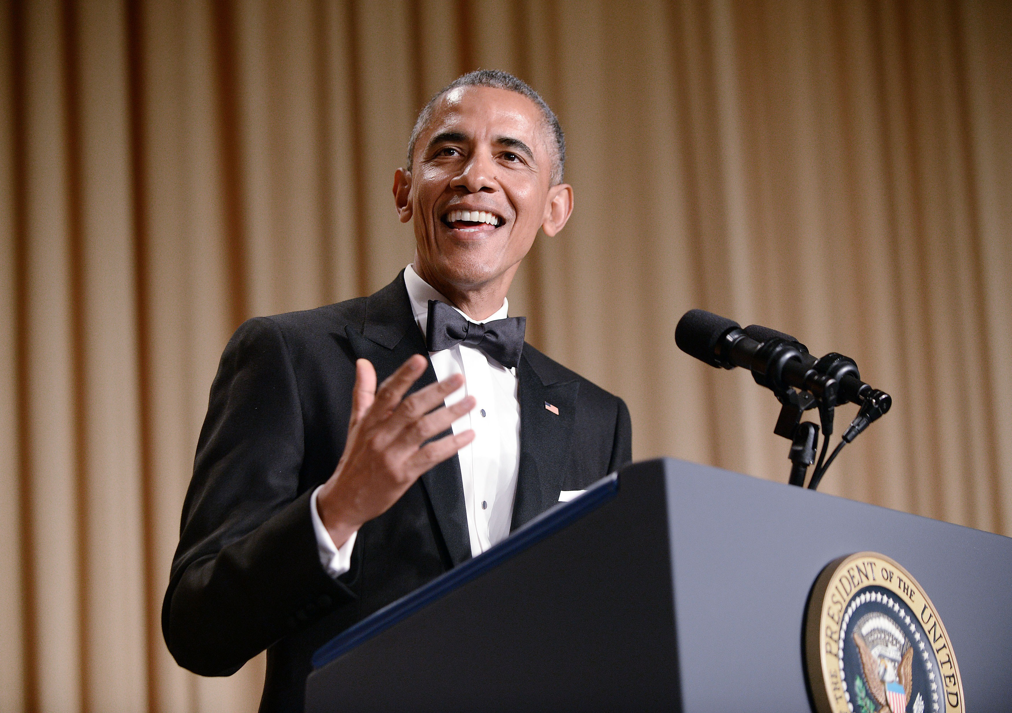 President Barack Obama speaks at the annual White House Correspondent's Association Gala at the Washington Hilton hotel April 25, 2015 in Washington, D.C. The dinner is an annual event attended by journalists, politicians and celebrities. Photo by Olivier Douliery-Pool/Getty Images.