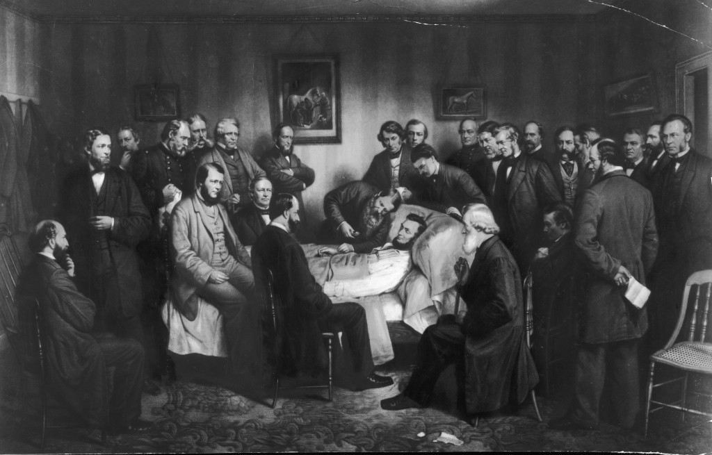 Painting of the death of President Abraham Lincoln, circa 1865. Photo by Fotosearch/Getty Images
