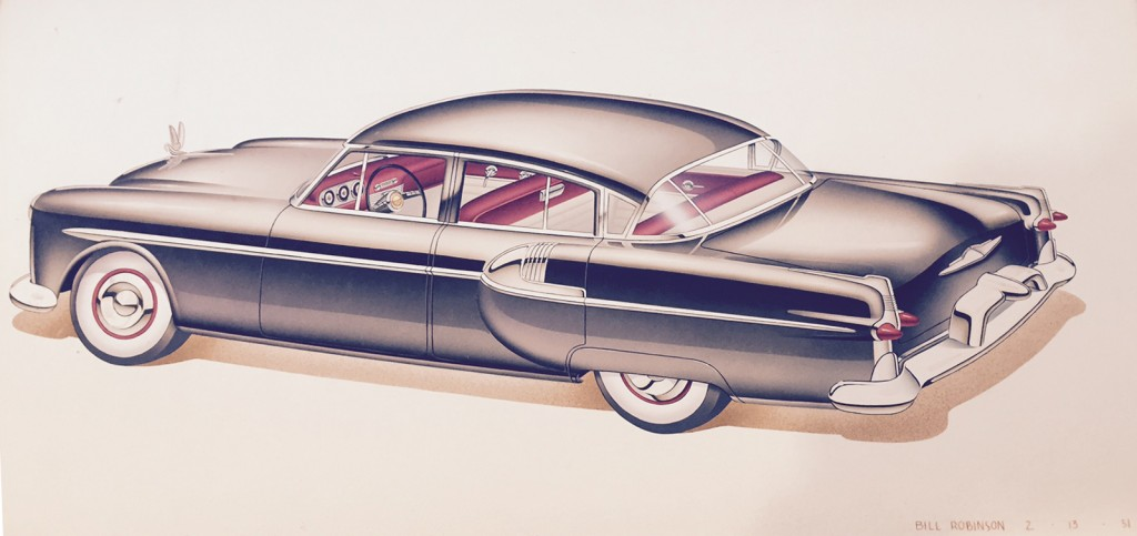 Bill Robinson, Packard, proposed updates for trim work 1951. Bill Robinson began his career as a car stylist at Kaiser-Frazer Corp. This artwork was done while he was at Briggs Design, later purchased by Chrysler Corp. in large part to capture the array of talented designers that Briggs had assembled.