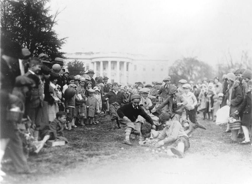 Boys chase after eggs at the 1929 Easter Egg Roll (Photo credit: Library of Congress)