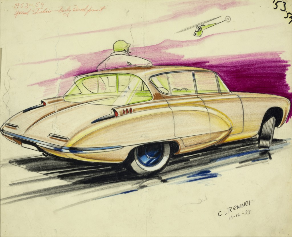 Carl Renner, GM Special Body Development Studio, 1953. Carl Renner had worked as an animator for Walt Disney studio's during the mid 1940s but preferred being a car designer. At GM, in the early 1950s, Carl Renner was given his own studio that only he and Harley Earl, GM's V.P. and head of Design had access to. In this studio many of GM's Motorama 1950s show-cars were developed.