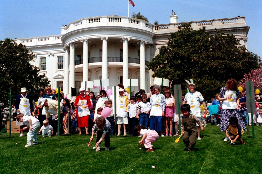 Children participate in the Easter Egg Roll at the White House, 1989. (Photo Credit:  George Bush Presidential Library and Museum)