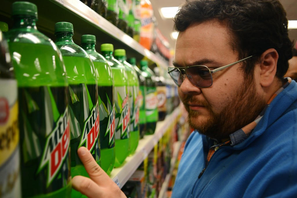 I test drove a pair of indoor sunglasses that claimed to correct colorblindness. A Mountain Dew product was among the many items that caught my eye. Photo by Ariel Min