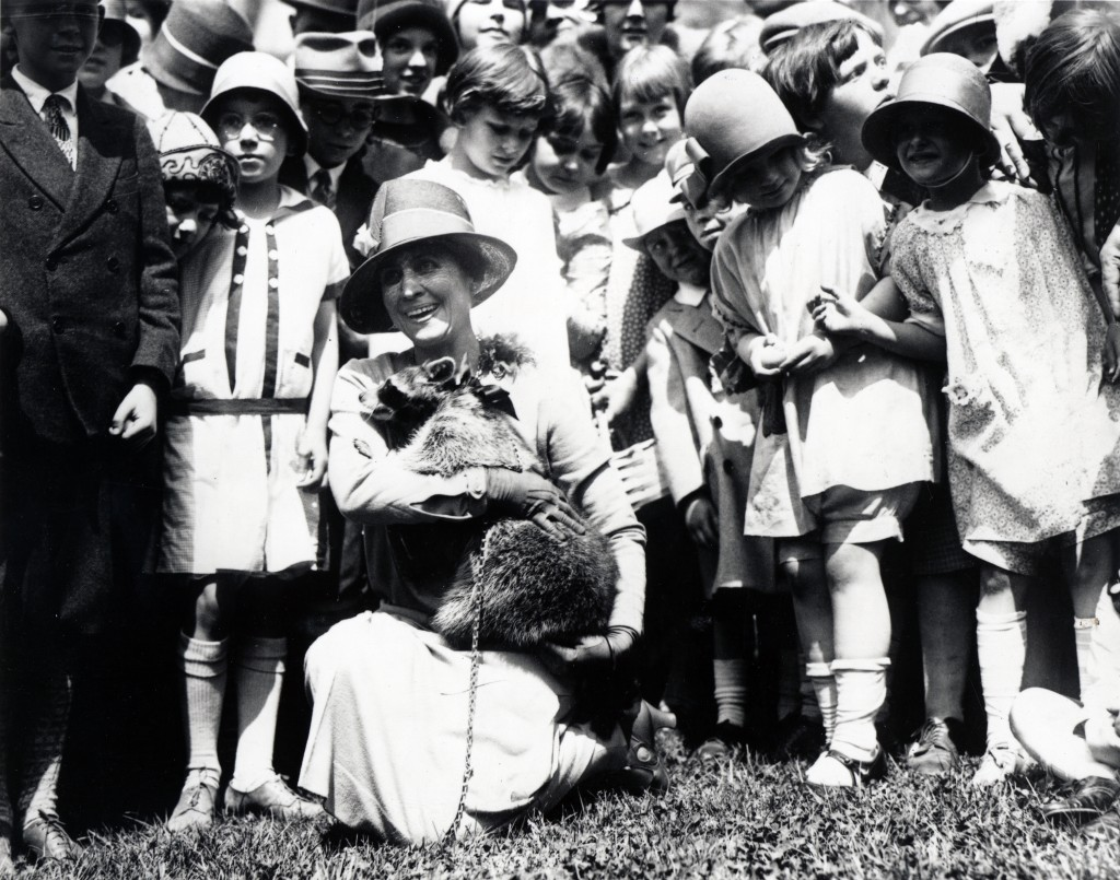 First Lady Grace Coolidge brings pet Raccoon Rebecca to the 1927 Easter Egg Roll (Photo Credit: White House Historical Association)