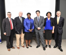 Gwen Ifill with Urbino Press Award President Giovanni Lani, left, and Italian Ambassador Claudio Bisogniero as well as previous winners Michael Weisskopf, Helene Cooper and Sebastian Rotella. Photo by the Italian Embassy